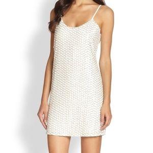 Parker White Kate Leathersequin Mini Dress - XS